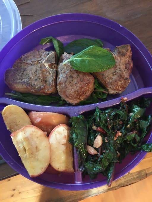 Grass-fed Lamb Chops with Roasted Apples and Swiss Chard